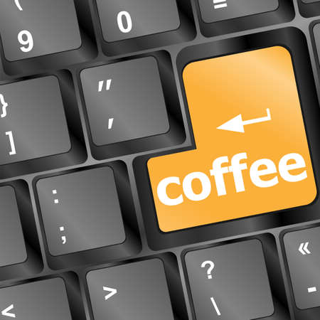 computer keyboard with coffee break button photo