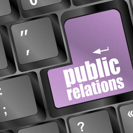 computer keyboard with public relations pr button photo