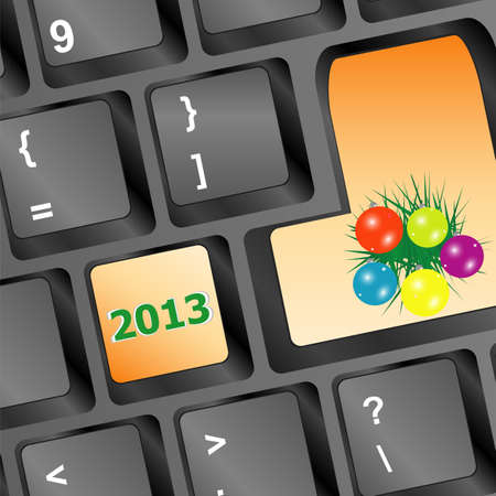 christmas button with balls and fir on keyboard Stock Photo - 16525664