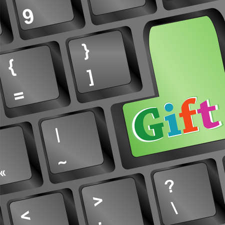 new year gift words on green keyboard button - christmas Stock Photo - 16525570