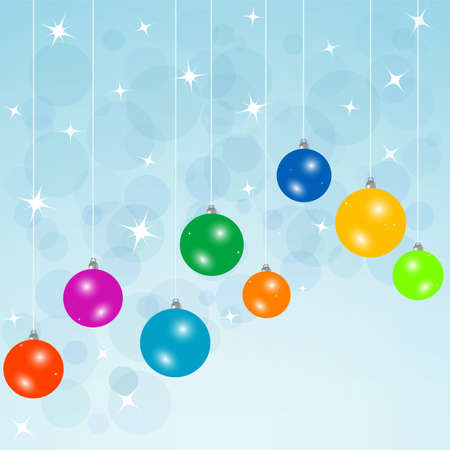 blue card with christmas balls photo