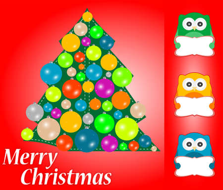 merry christmas card design. cute owls with blank card photo