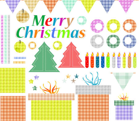 Set of christmas elements, ribbon, labels, frames, badge, stickers photo