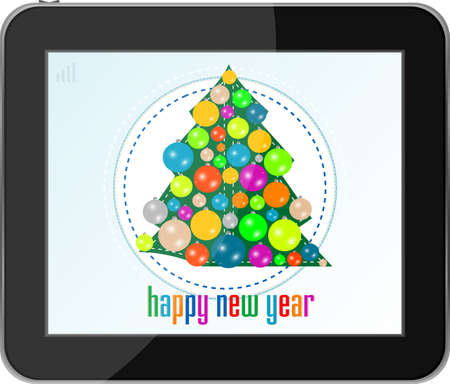 christmas tree with balls on tablet pc photo