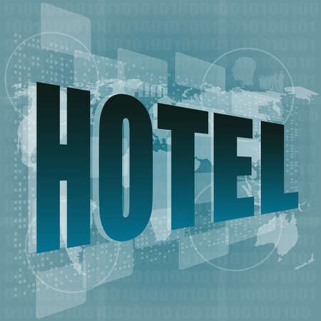 Pixeled word hotel on digital screen - business concept photo