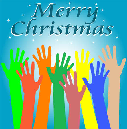 Classic holiday. Merry christmas with hands Stock Photo - 16559902