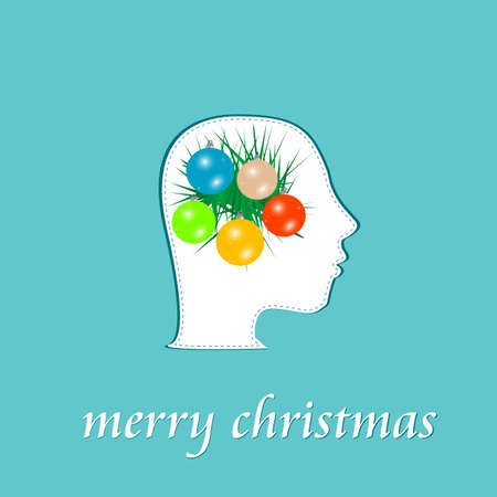 merry christmas blue background with balls and fir on woman head photo