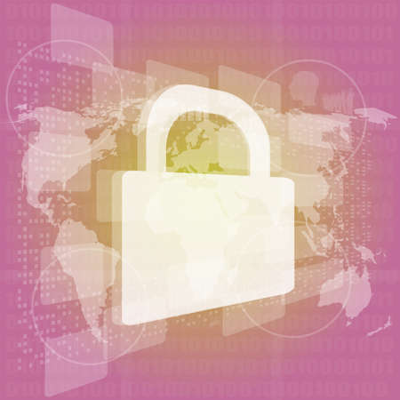 Security concept: Lock on digital screen Stock Photo - 16559904