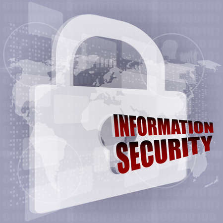 Security concept: Lock on digital screen photo