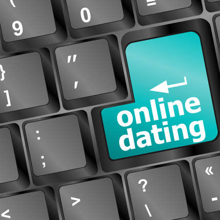 online dating button on computer keyboard showing love concept photo