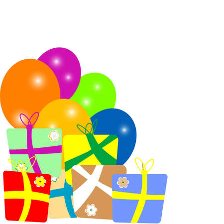 colorful gift boxes with balloons frame over white background Stock Photo - 16656155