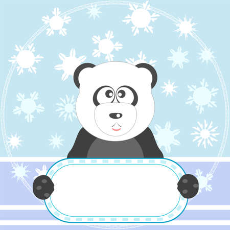 Cute panda with white blank on winter background photo