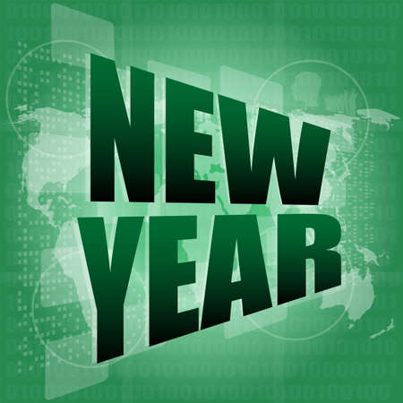 new year words on digital screen - holiday concept Stock Photo - 16656244