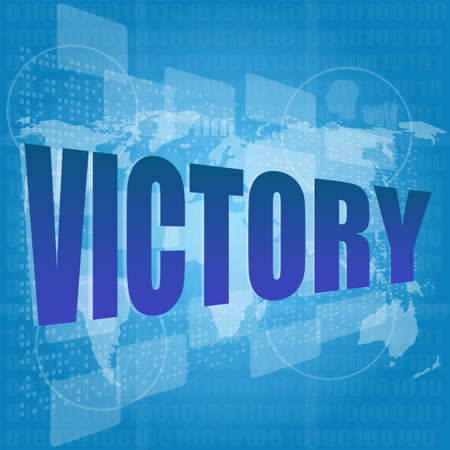 victory word on digital screen with world map Stock Photo - 16686612