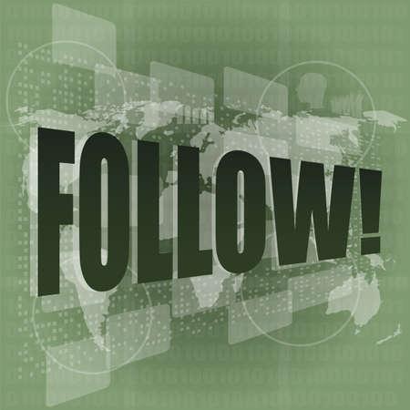 word follow on digital background on digital screen Stock Photo - 16686604