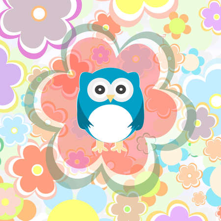 cute owl and flower pattern Stock Photo - 16686602