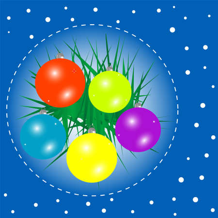 christmas background with baubles and christmas fir photo