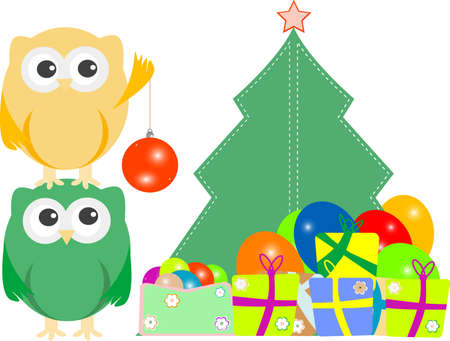 owl family with christmas tree, balls, balloons and gift boxes photo