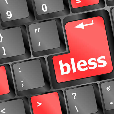 bless keyboard button on computer pc Stock Photo - 16799426
