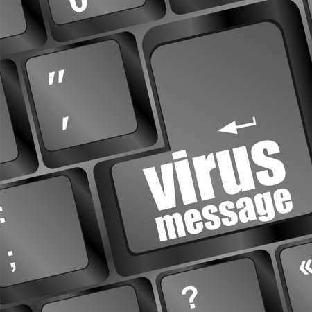 Computer keyboard with virus message key Stock Photo - 16799419