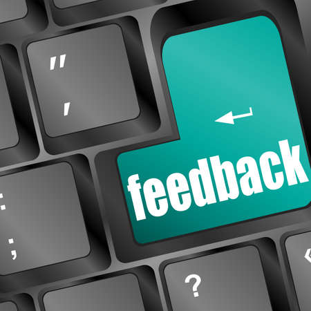 commenting: Feedback computer key showing opinion and surveys Stock Photo