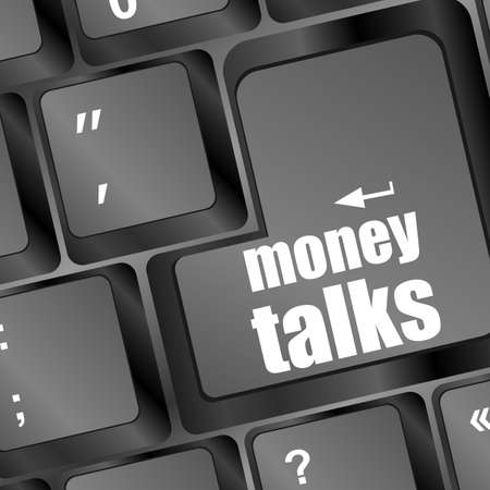 pc keyboard with money talks word photo
