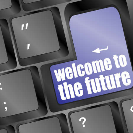 Social media key with welcome to the future text on laptop keyboard photo