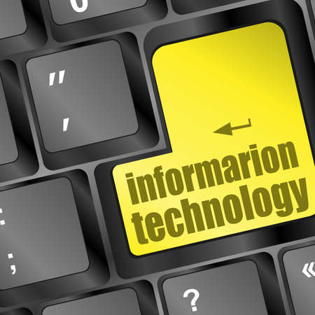 key with information technology text on laptop keyboard Stock Photo - 16799400