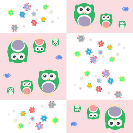 colourfull: Seamless colourfull owl pattern for kids Stock Photo