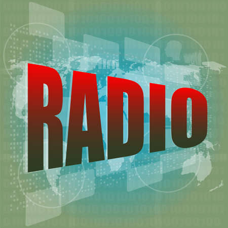 radio word on digital screen background with world map photo