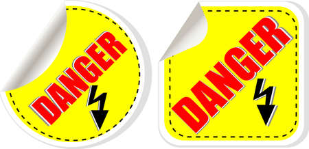 Nuclear danger warning stamp, stickers set photo