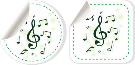 treble clef music note icon on sticker set photo