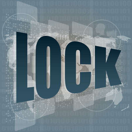 business concept lock word on digital screen with world map photo