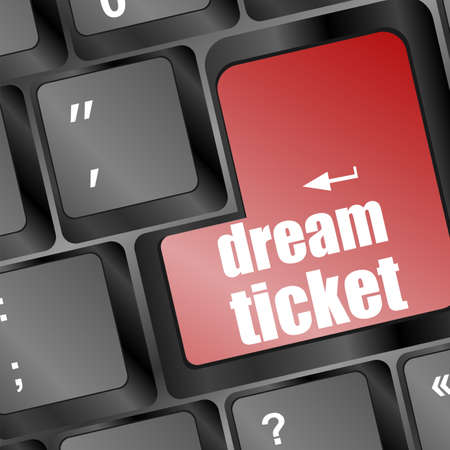 dream ticket button showing concept of idea on keyboard, creativity and success Stock Photo - 16916756