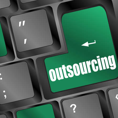 offshoring: Outsourcing key on laptop keyboard