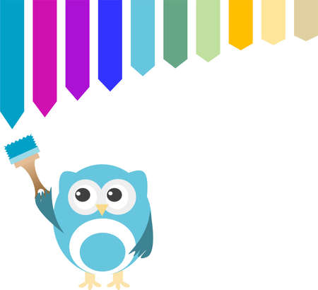 head wise: Decorative owl on a white background with paint brush Stock Photo