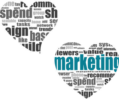Social media marketing concept in word tag cloud in heart photo