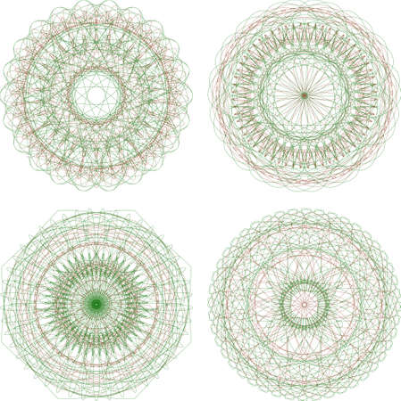 abstract green guilloche circle pattern, mandala set Stock Photo - 17166255