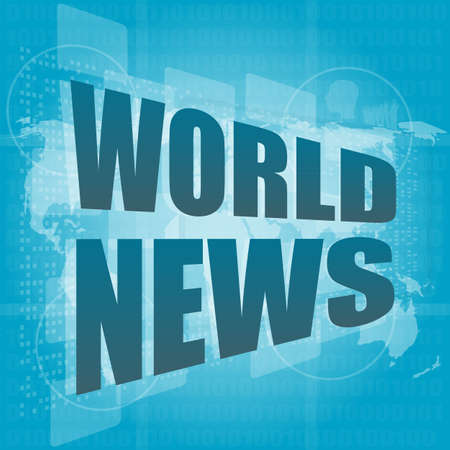 News and press concept: words world news on digital screen Stock Photo - 17166246