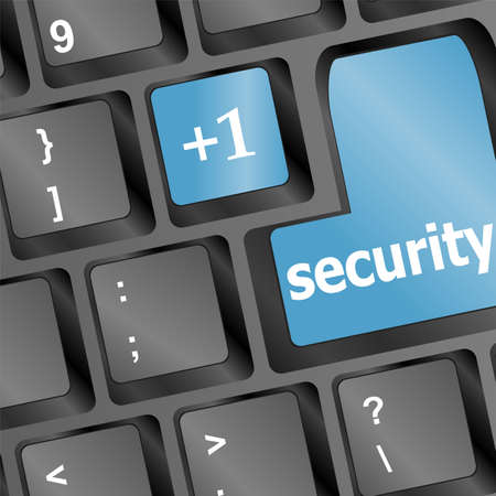 Close up view on conceptual keyboard - Security (blue key) Stock Photo - 17166268