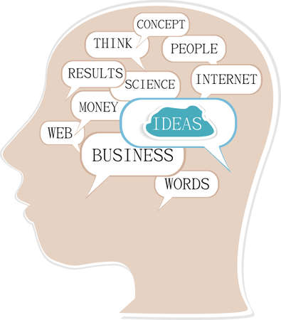 silhouette of a man head with colorful business idea text balloons photo