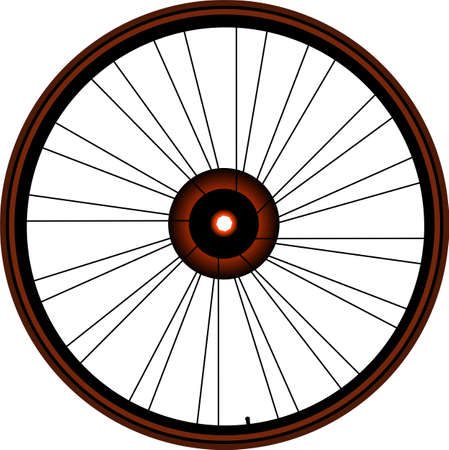 spokes: bike wheel with tire and spokes isolated on white background