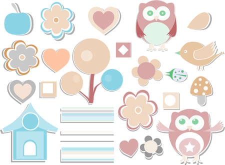 set - owls, birds, flowers, butterflies, ladybugs, hearts, etc. Stock Photo - 17195413