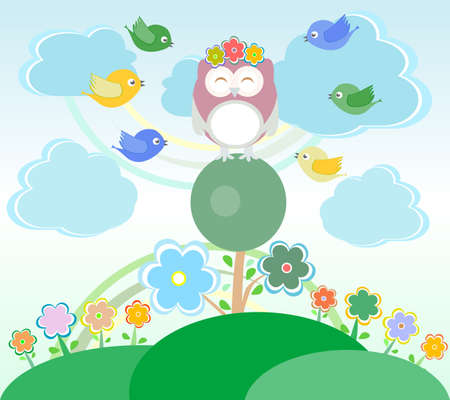 Background with owl, birds, flowers, clouds and trees Stock Photo - 17195412