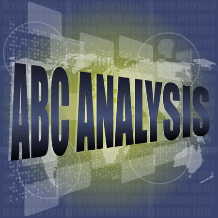 words abc analysis on digital screen, business concept photo