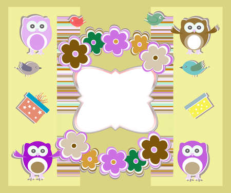happy birthday card with cute owls, birds, flowers and gift box Stock Photo - 17296858