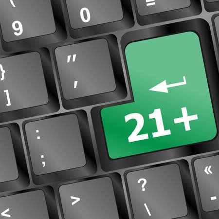 21+ button on keyboard. social concept Stock Photo - 17296868