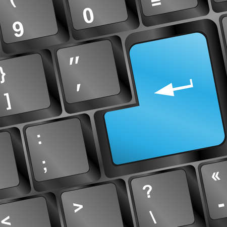 Keyboard with blue blank Enter button, with copyspace Stock Photo - 17296867