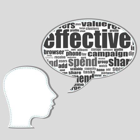 social media words on man head - business concept Stock Photo - 17296883