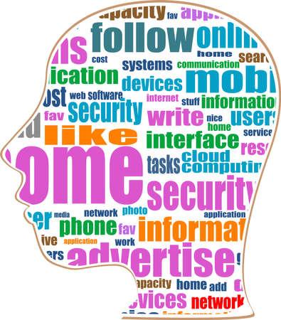 social words concept on man head Stock Photo - 17296918